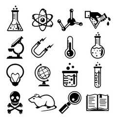 Chemistry and science black icon set vector image