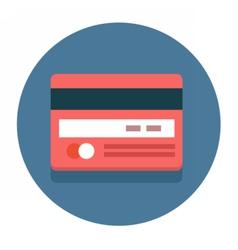 Circle flat icon credit card vector