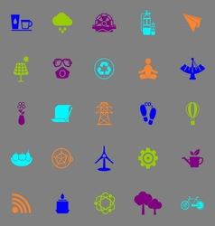 Clean concept icons fluorescent color on gray vector