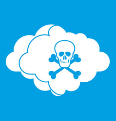 Cloud with skull and bones icon white vector