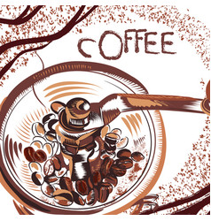 coffee poster with hand drawn coffee mill vector image