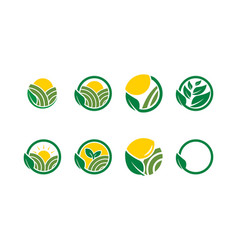 collection of agricultural logo icon template vector image