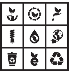 Concept flat icons in black and white eco symbols vector