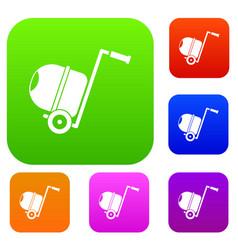 concrete mixer set collection vector image