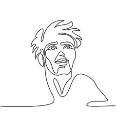 Continuous line abstract portrait a man vector