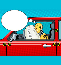 Crash test dummy pop art vector