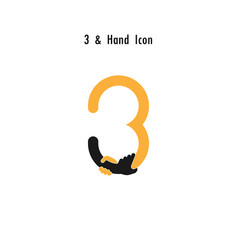 Creative 3- number icon abstract and hands icon vector