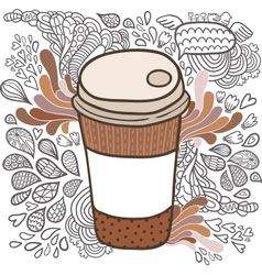 Cute cartoon doodle coffee cup vector image