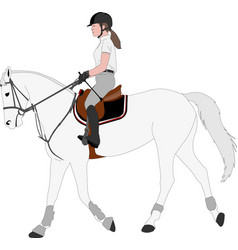 Detailed color young female riding elegant vector