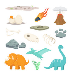 Dinosaurs stones and other different symbols of vector