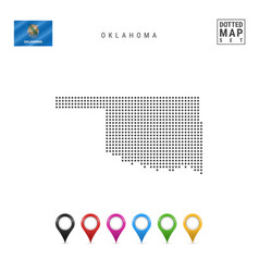 Dots pattern map oklahoma stylized silhouette vector