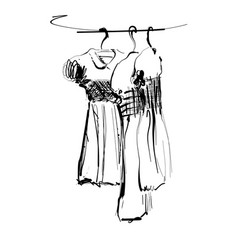 Dress on hanger wardrobe sketch hand drawn vector