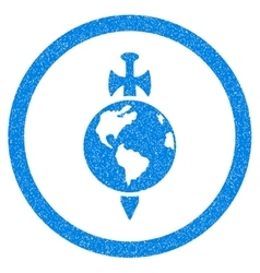 Earth Guard Rounded Icon Rubber Stamp vector image
