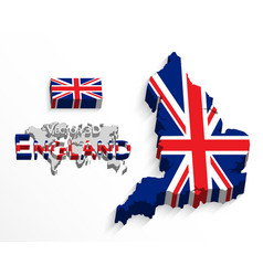 England 3d flag and map vector