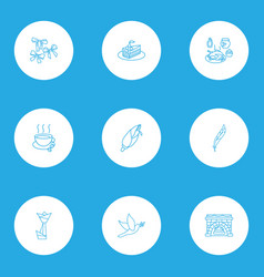 Festival icons line style set with piece of cake vector