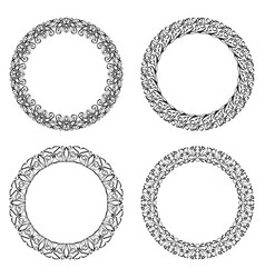 Filigree round frame calligraphic circle lace vector