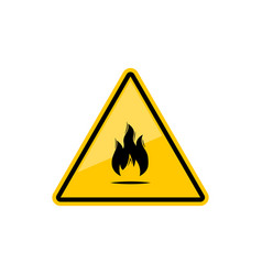 Flammable inflammable warning sign with fire flame vector