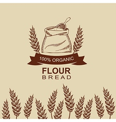 Flour bread label design Bakery retro vector