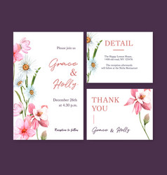 Flower garden wedding card design with daisy vector