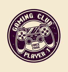 Gaming round badge with console gamepad vector