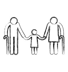 Grandparents couple with granddaughter avatars vector