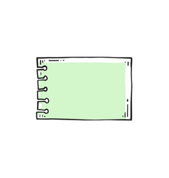 green paper sheet from small spiral notebook with vector image