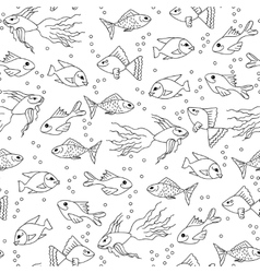 Hand drawn Fish in water seamless pattern for vector