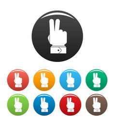 hand hey icons set color vector image