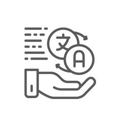 Hand holding speech bubbles language translation vector