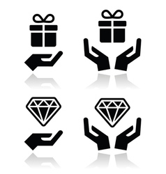 Hands with present and diamond icons set vector image vector image