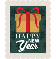 happy new year 2021 wrapped gift box snowflakes vector image