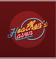 Heathen haven neon sign lamp vector
