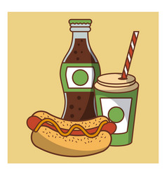 Hot dog fast food combo vector