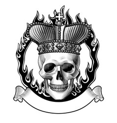 human skull full face in crown fiery ring and a vector image
