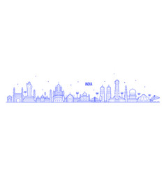 india skyline country buildings linear art vector image