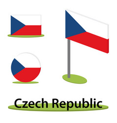 isometric flag czech republic vector image