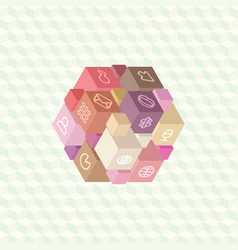 Isometric projection infographic array of cubes vector