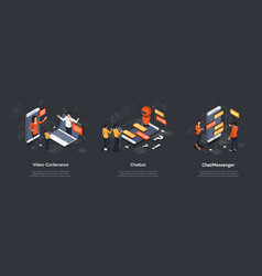 isometric set of video conference chatbot vector image