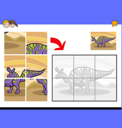 Jigsaw puzzles with dinosaur character vector