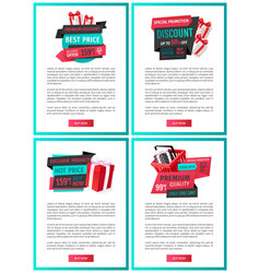 landing pages price tags special offer banners vector image