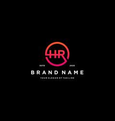 Letter hr logo design vector