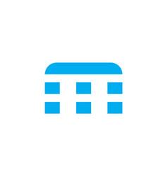 logo letter m blue stripes vector image