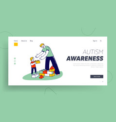 Man and little boy with autism syndrome building vector
