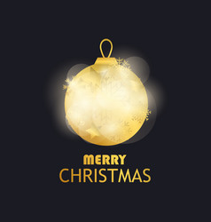 merry christmas golden christmas ball on black vector image