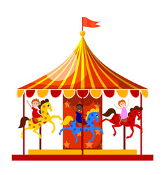 Merry-go-round is circling merry children vector