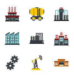 oil extraction transportation icons set flat style vector image