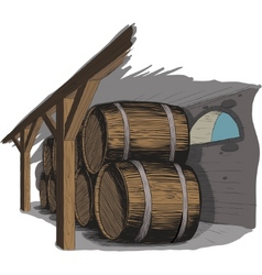 Old wine cellar with rows of barrels vector