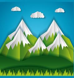 paper origami landscape vector image