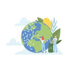 people cleaning earth planet and ocean from vector image