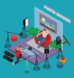photo session isometric background vector image